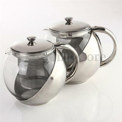 900ML Heat Resistant Stainless Steel Glass Tea Leaf Infuser Teapot Coffee Herbal