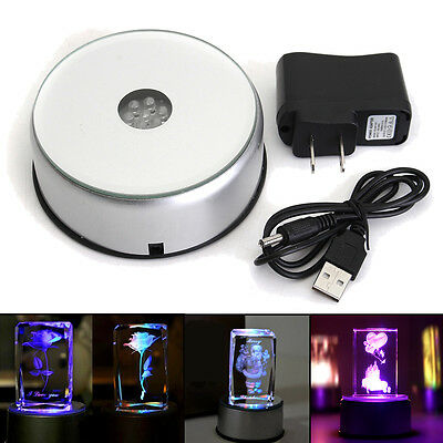 7 LED Colorful Light Unique Rotating 3D Crystal Display Base Stand W/ DC Adapter