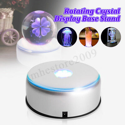 8.5x4cm 7 LED White Light Unique Crystal Display Base Stand + Adapter Glass Arts