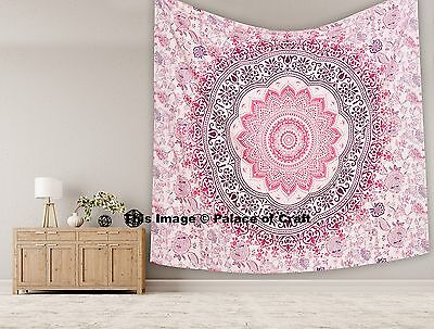 Indian Cotton Pink Ombre Mandala Home Decor Wall Hanging Printed Tapestry 531