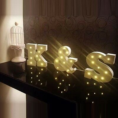 Creative Wood Letter Nordic LED Night Light Wall Vintage Wedding Party
