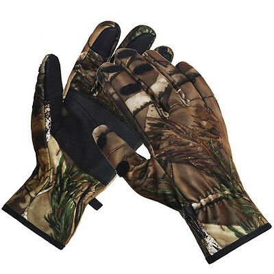 Winter Camo Finger Detachable Gloves Windproof Camouflage For Cycling Hunting