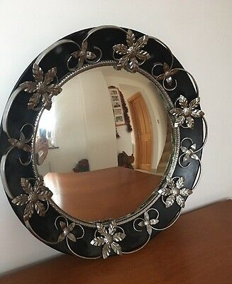 "Vintage Round Concave Mirror Excellent Condition 19"" Black and Chrome"