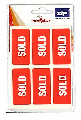 SOLD Sticky Labels Parcel Stickers Self Adhesive - Red and White