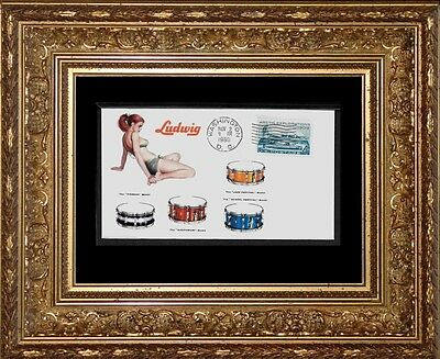 1960 Ludwig Drums Pin Up Girl  ad Featured on Collector's Envelope *X442