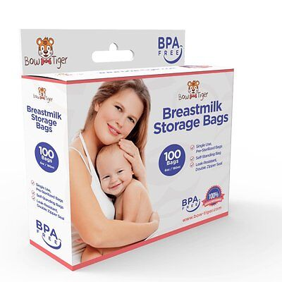 100 Breastmilk Storage Bags - 6oz / 180ml Pre-Sterilized & BPA-FREE by Bow-Tiger