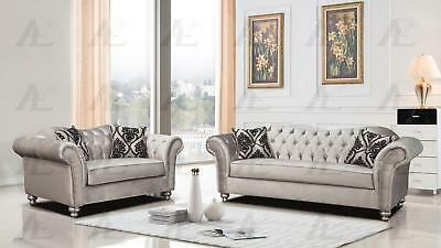 American Eagle AE2600-S Silver Fabric Tufted Sofa and Loveseat Set 2Pcs