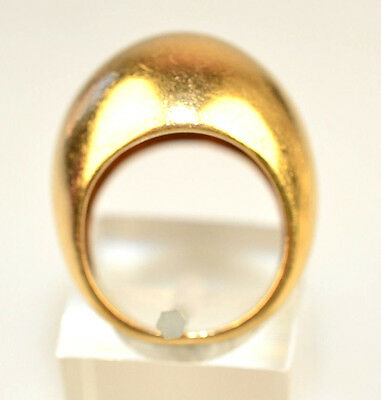 "Vtg Heavy 14K Yellow Gold Dome Ring Brushed Finish 3/8"" High 8.7 Grams Size 4.75"