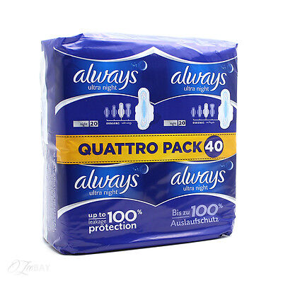 Always Ultra Night 20 Quattro Pack 40