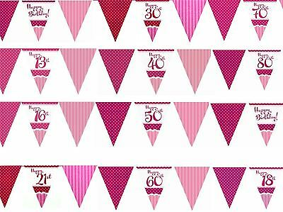 12ft Girls Pink Age Birthday Bunting Flag Pennant Garland Party Decorations Age