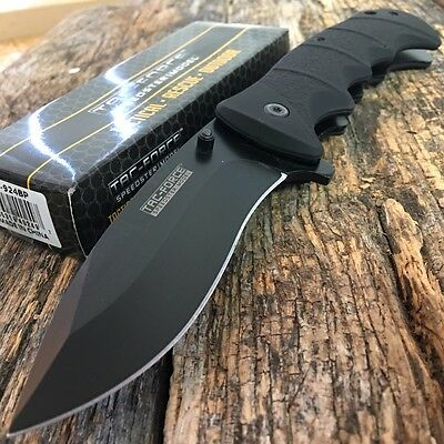 TAC FORCE Spring Assisted Opening BLACK TACTICAL Pocket Knife Folding Blade NEW!