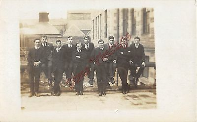 People Postcard Group Of Young Men RPPC Edwardian Roof Tops ?  T1 020