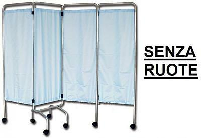 Hospital Screen 4 Sections On Legs Curtains Flame Retardant Trevira Cm. 200X170H