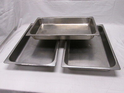 "3 Full Size Hotel Pans Chafer Dishes 20-7/8""x12-7/8""x2-1/2"" Commercial Kitchen"
