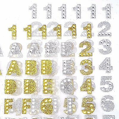 Self Adhesive Alphabet Stickers Glitter Diamante Letters Sticky Embellishment
