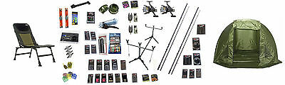 XLT Carp Fishing Kit Rods Reels pva,bivvy,Rigs pod,chair,baits & Accessories