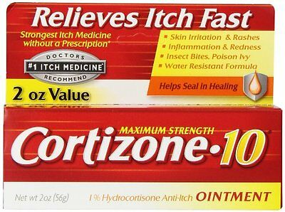 Cortizone 10 Hydrocortisone Anti-Itch Oinment Maximum Strength 2 oz Each