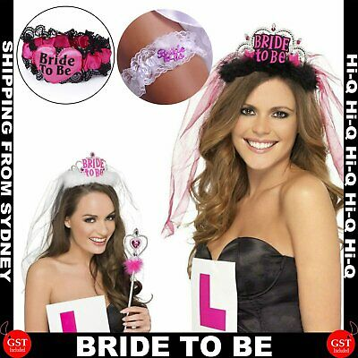 Bride To Be Crown Tiara Veil Bachelorette Headband Hen's Party Night Fancy Dress
