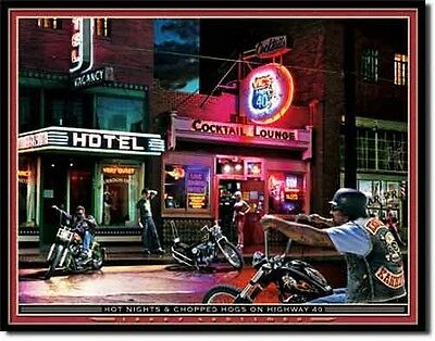 "New (old stock) 12.5x16"" Hot Nights Chopped Hogs METAL POSTER Grossman bar decor"