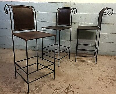 Vintage Set of Scroll Back Leather and Wrought Iron Bar Stools Mid Century