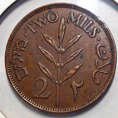 1927 Palestine Two Mils Better Grade Beautiful Coin