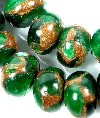 10x7mm Emerald Green in Quartz with Pyrite Rondelle Beads (28)