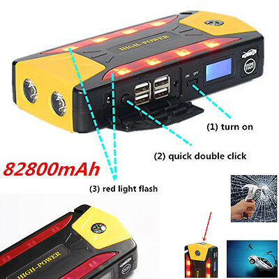 82800mAh Portable Car Jump Starter  Booster Battery  4 USB Emergency Charger