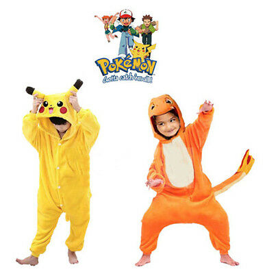 Kids Boy Girl Pyjamas Pokemon Pikachu Cosplay Costume Onesie Sleepwear Nightwear