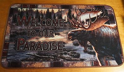 WELCOME TO OUR PARADISE MOOSE Log Cabin Lodge Home Decor Kitchen Rug Door Mat