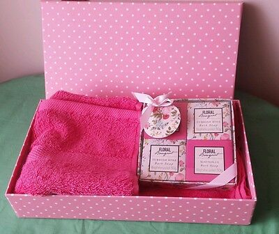 Ladies Bath GIFT BOX SET Rose & Magnolia Soaps & Morgan & Finch Hand Towel