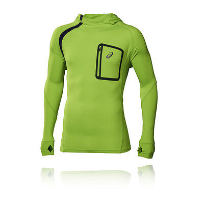 Asics Performance LS Mens Green Training Hoody Long Sleeve Hooded Top