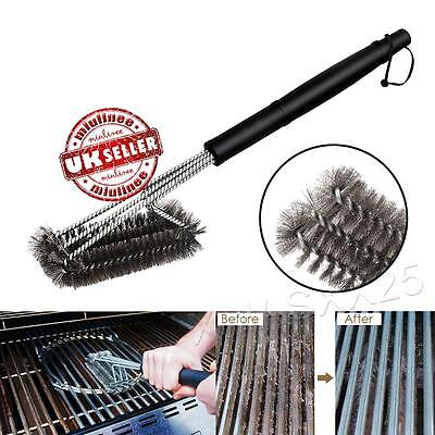 3 Steel Barbecue Grill Cleaner Brush Wire Heads Handle BBQ Metal Cleaning Tool