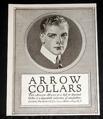1919 Old Magazine Print Ad, The Arrow Collar, Soft Or Starched, Dependable, Art!