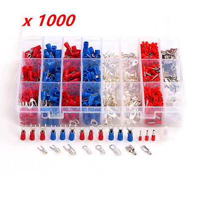 1000X Insulated Crimp Terminals 24Types Kit Car Truck auto Electrical Cable Wire