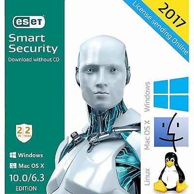 ESET Smart Security 10.0 / 2017 / 2 Years 2 PCs License Download English Edition