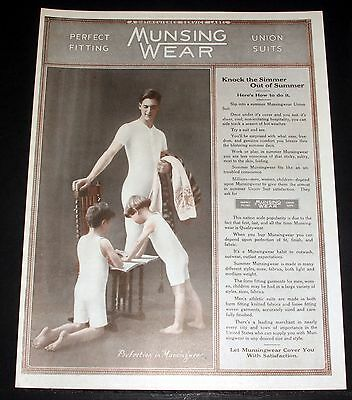 1919 Old Magazine Print Ad, Munsing Wear, Perfect Fitting Union Suits, Summer!