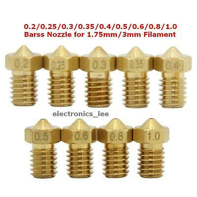 1/2/5/10pcs 0.2 0.3 0.4 0.5mm Brass nozzle M6 Thread for 1.75 3mm Filament