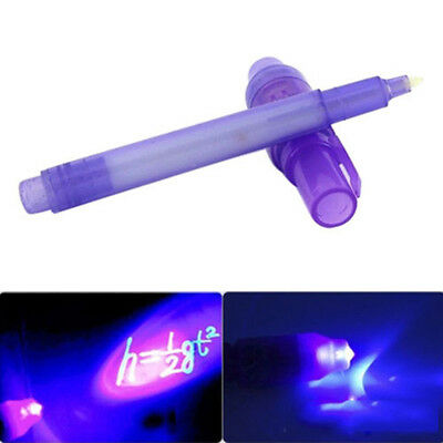 Pro Purple 2 In 1 UV Black Light Combo Creative Stationery Invisible Ink Pen HS