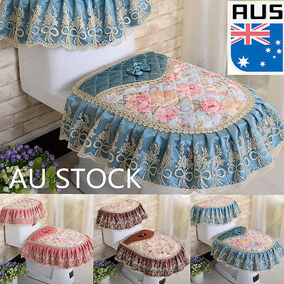 Toilet Seat Cover Sets Lace Closestool Tank Polyester Cover Home Bathroom Decor