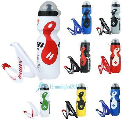 Mountain MTB Bike Bicycle Cycling Outdoor Water Drink Bottle + Holder Cage Rack