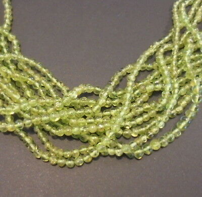 LOT de 30 PERLE PIERRE NATURELLE ROND INDE 3 mm PERIDOT NATURAL STONE BEAD INDIA