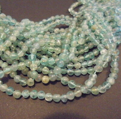 30 PERLES PIERRE NATURELLE ROND APATITE INDE 3 mm NATURAL STONE BEADS ASIA INDIA