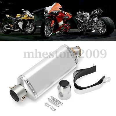 38-51mm Stainless Steel Motorcycle Exhaust Muffler Pipe w/ Silencer Universal