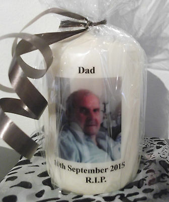 Personalised In Memory Memorial Photo Candle Beautiful Keepsake Gift Dad Mum Son