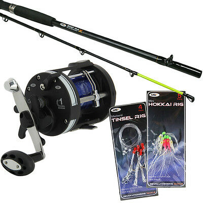 BOAT ROD 6ft AND MULTIPLIER REEL SET WITH SEA FISHING FEATHERS NGT