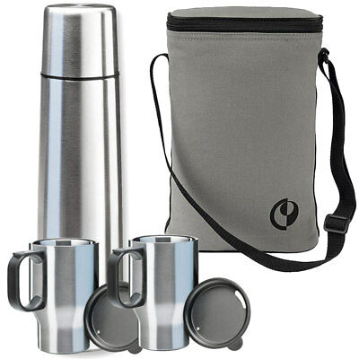 ISOSTEEL Touring Set Pro Bag Isolierflasche Thermosflasche Thermoskanne 2 Becher