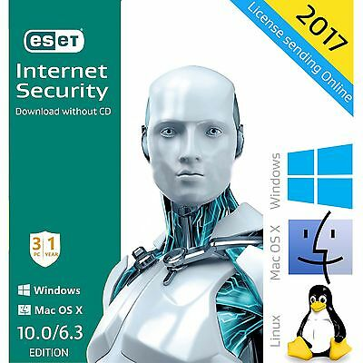 ESET Internet Security 10.0 /2017 /1 Year 3 PCs License Download English Edition