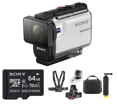 Sony HDRAS300/W HD Recording Cam , White + 64GB Hardshell Case it Kit
