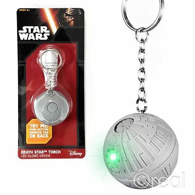 New Star Wars Death Star Keyring Torch Keychain Light Up Green LED Official
