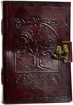 """7""""x10"""" Large Locking Leather Bound Tree of Life Book of Shadows, Journal, Diary!"""
